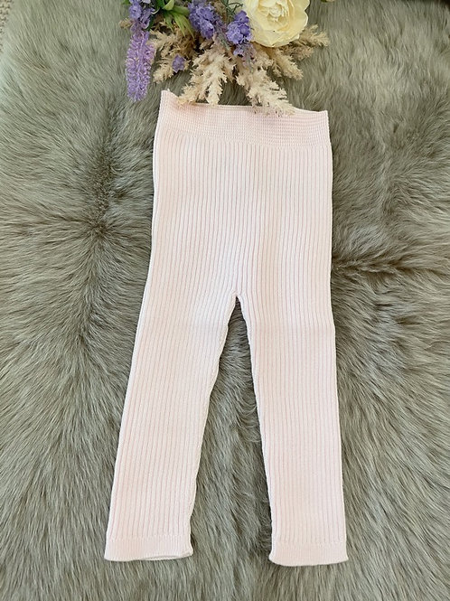Pink Knitted rib Leggings