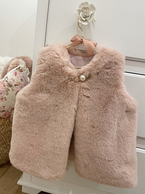 Furry Gilet Soft Pink