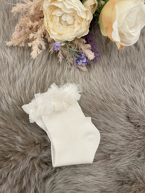 Lace Ankle Socks Tulle Ivory