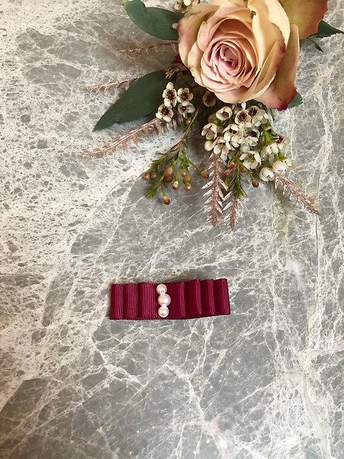 Bow Grosgrain burgundy pearls