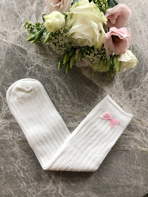 Ribbed Knee High Socks Ivory