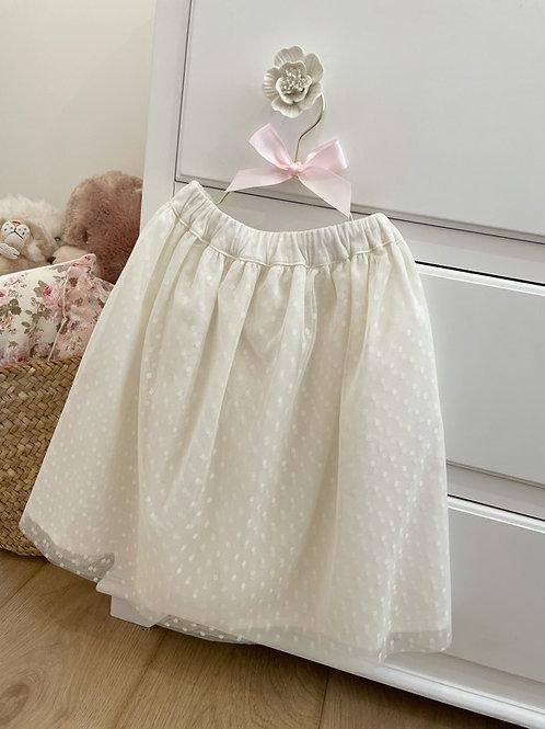 Ivory Tulle Midi Skirt