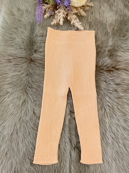 Peach Knitted rib Leggings