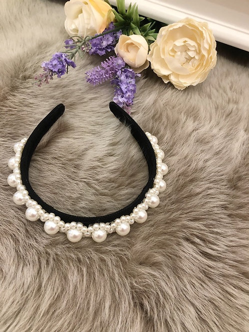 Hairband Black Pearls