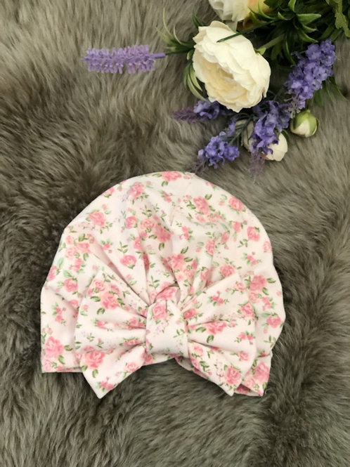 Turban Hat Floral Pink