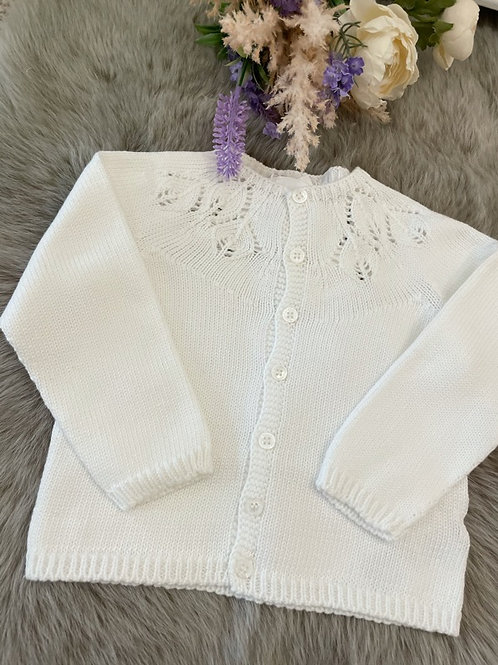 Cardigan Knitted Ajour Ivory