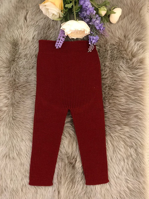 Burgundy Knitted Leggings