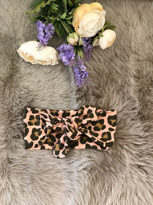 Knotted Headband Leopard Pink