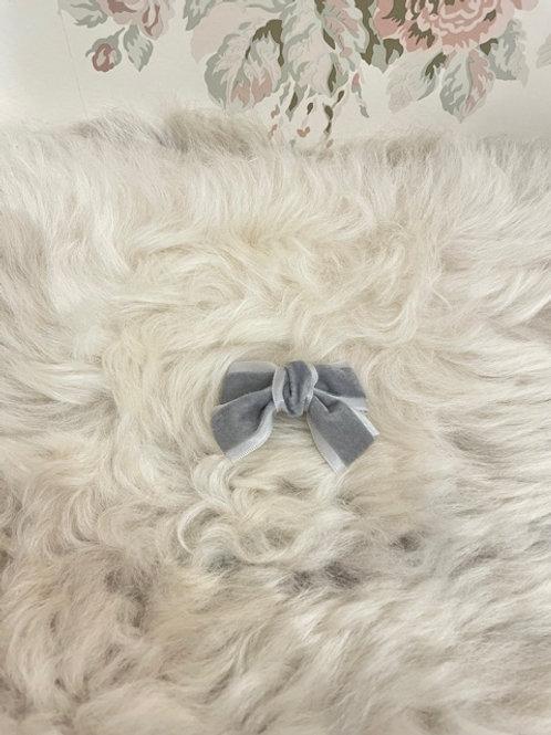 Bow Velvet Mini Grey