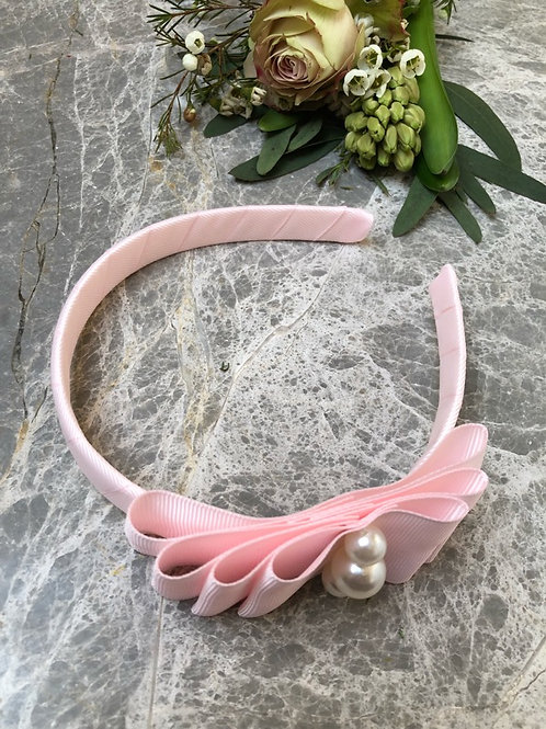 Hairband powder pink pearls