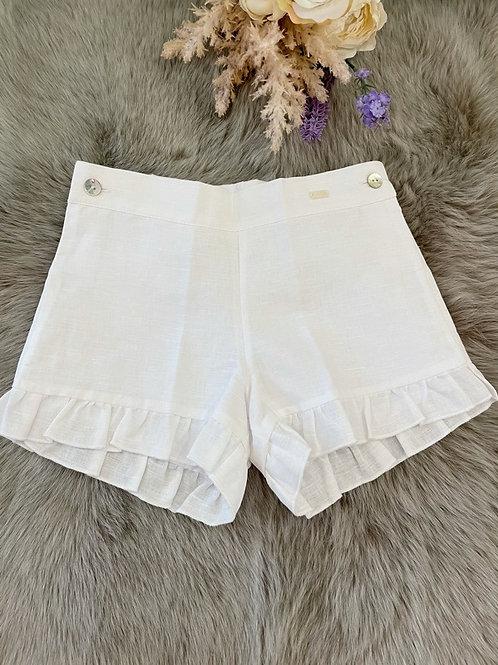 Shorts White Linen