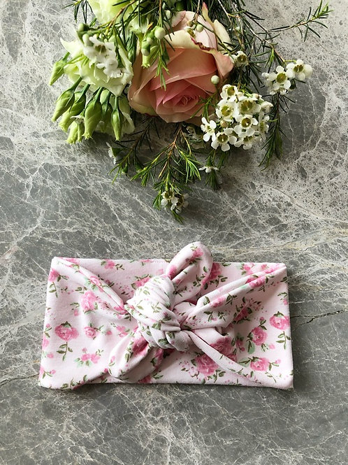 Knotted Headband Pink Roses