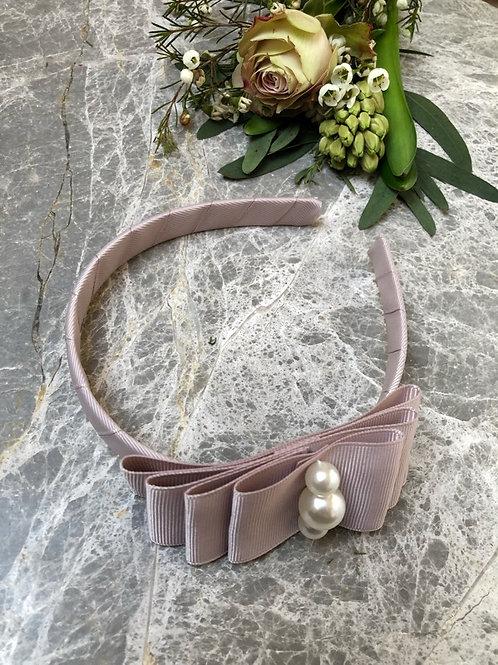 Hairband greige pearls