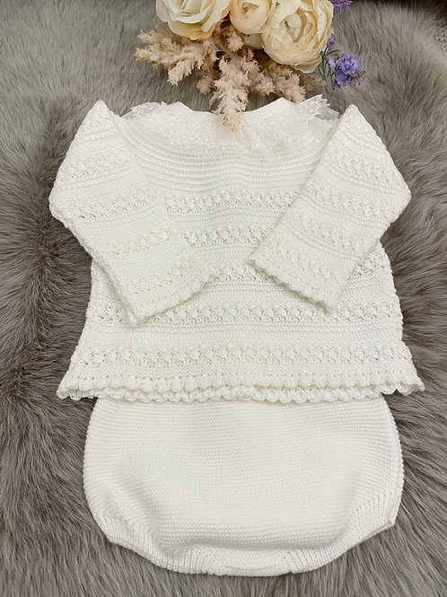 Set Knitted Ivory Bloomer