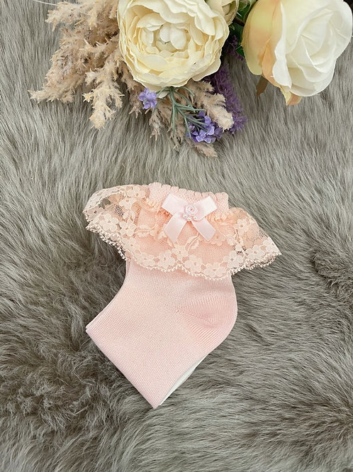 Lace Ankle Socks Pearl Pink