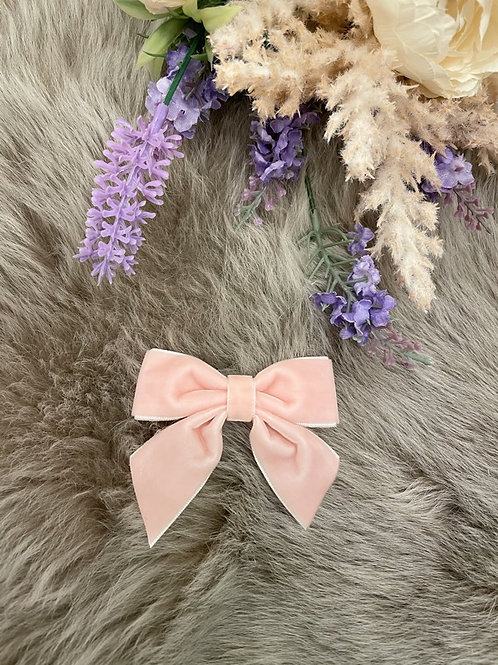 Bow velvet Powder Pink