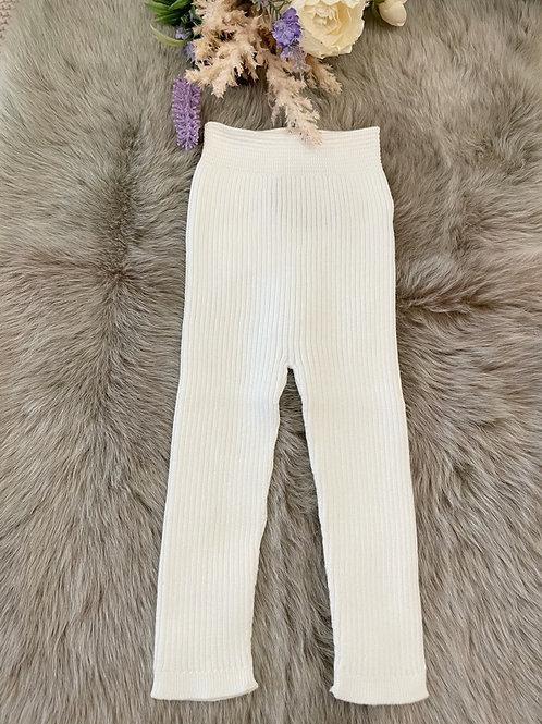 Ivory Knitted rib Leggings