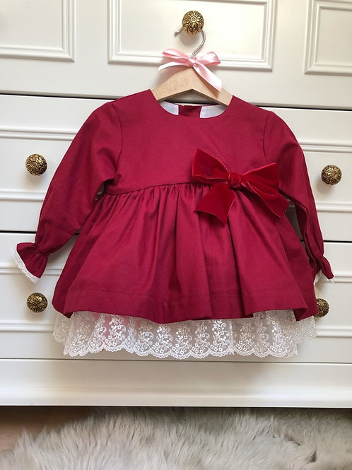 Dress Burgundy Ivory Lace