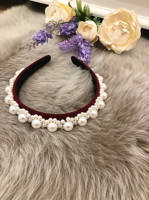 Hairband Burgundy Pearls