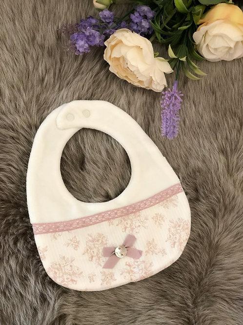 Bib Ivory Floral Pink