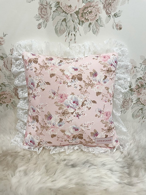 Decorative Cushion Pink Lace