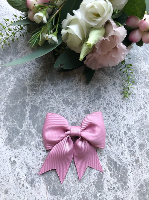 Bow Grosgrain Dusty Pink with Tails