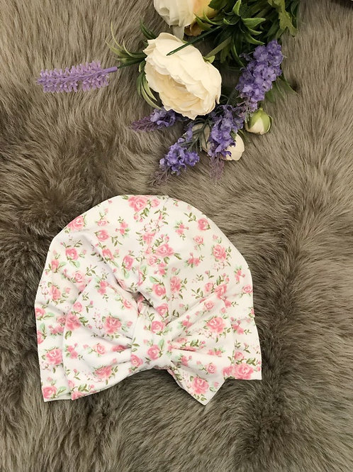Turban Hat Floral White