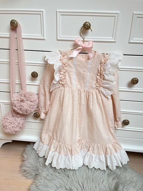 Dress Boho Lace Embroidery Nude