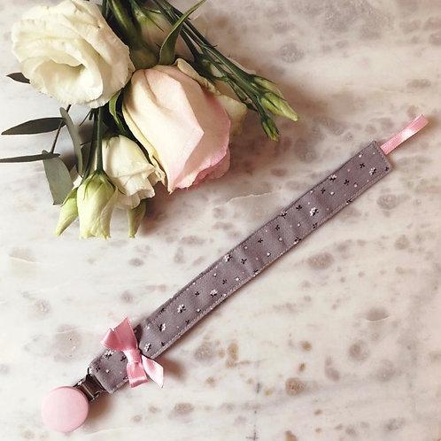 Pacifier Clip Grey-Pink