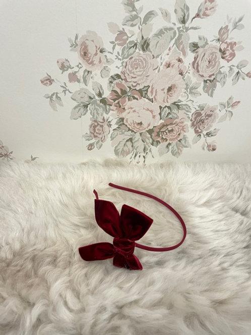 Hairband Bow Velvet Burgundy