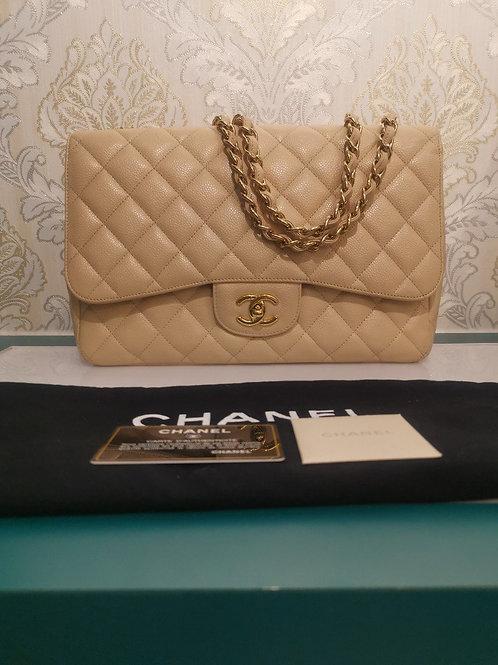 Chanel Jumbo Classic Single Flap Beige Caviar with GHW