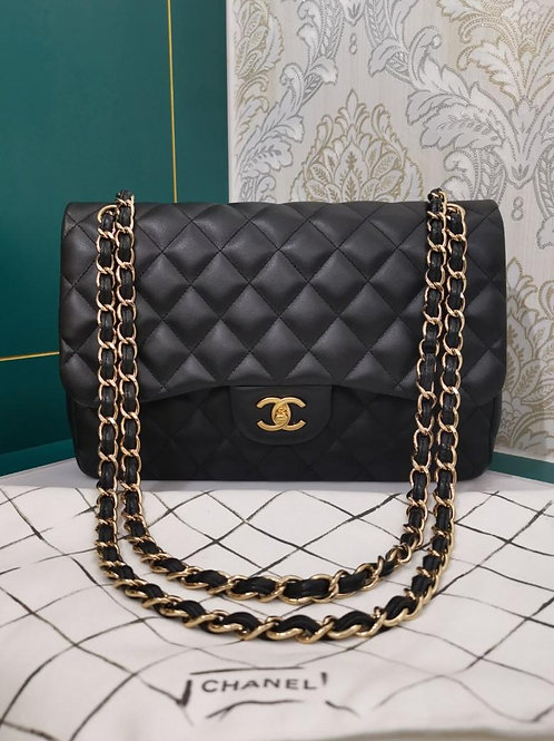 #19 Chanel Jumbo Classic Double Flap Black Lamb with GHW