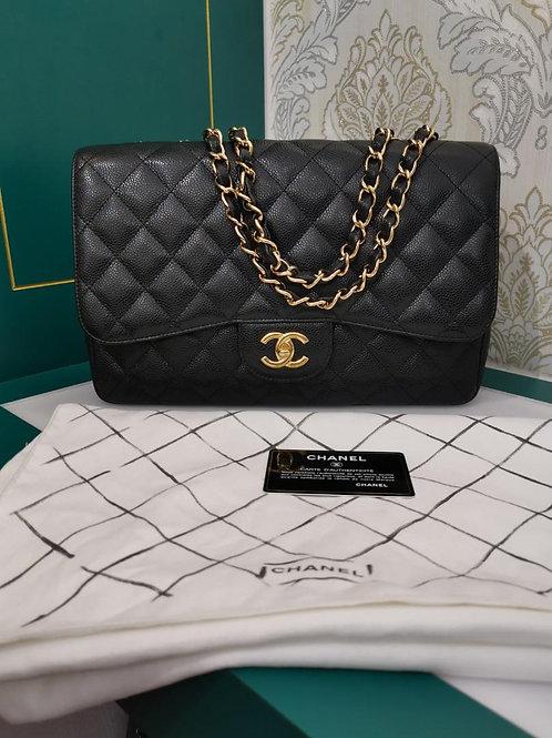 #13 Like New Chanel Jumbo Classic Single Flap Blk Caviar Ghw