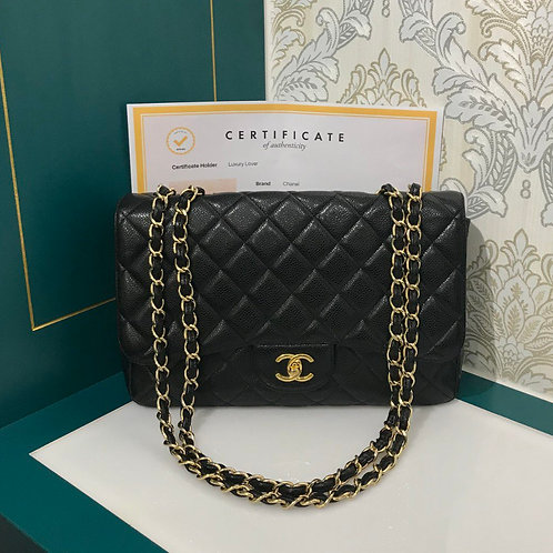 Like New Chanel Jumbo Single Flap Black Caviar with GHW
