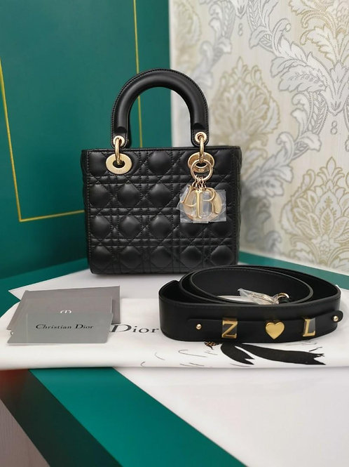 Brand New My ABCDior Lady Dior Small blk Lamb light GHW