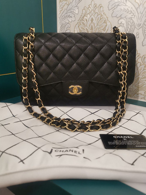 #18 Brand New Chanel Jumbo Classic Double Flap Caviar Black with GHW