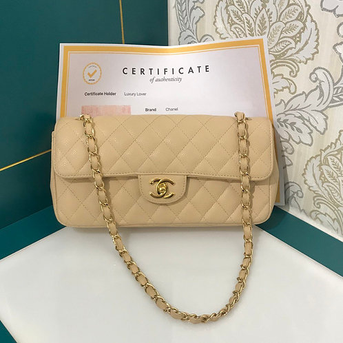 Like New Chanel East West Flap Beige Caviar with GHW