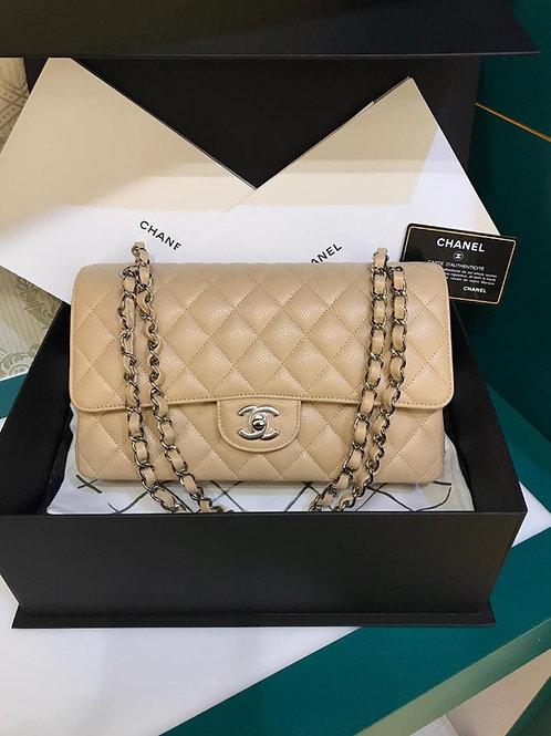 #28 BNIB Chanel Classic Double Flap Medium Beige Caviar SHW