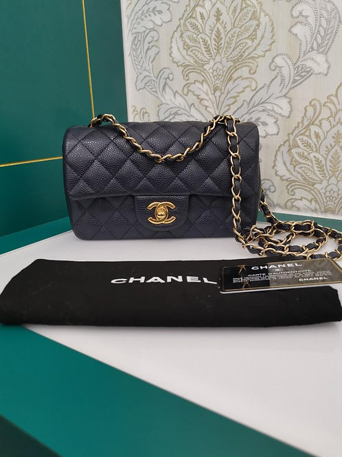 #21 Like New Chanel Mini Rectangular Navy Caviar with GHW