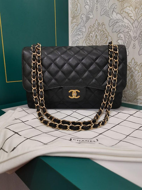 #17 Like New Chanel Jumbo Classic Double Flap Black Caviar with GHW