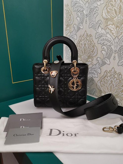 Like New Lady Dior ABCDior Small Black Lamb with light GHW
