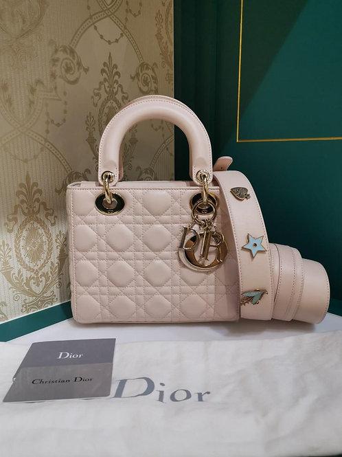 Like New Lady Dior Small My ABCDior Powder Pink Lamb Light GHW