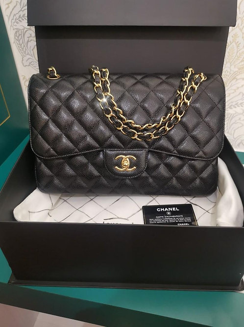 #20 Like New Chanel Jumbo Classic Double Flap Black Caviar with GHW