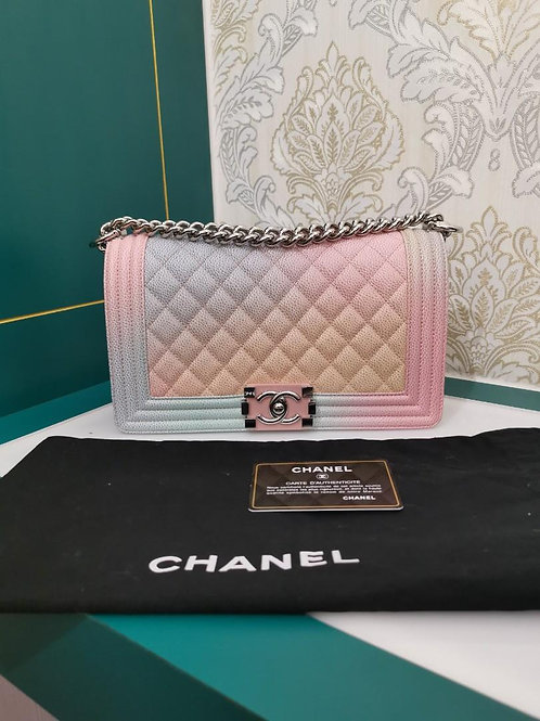 #25 Like New Chanel Boy Old Medium Rainbow Caviar with SHW