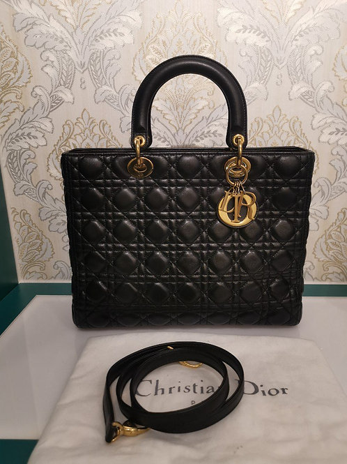 Lady Dior Large Black Lamb with GHW
