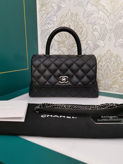 #23 Like New Chanel Coco Handle Mini/Small Black Caviar with RHW