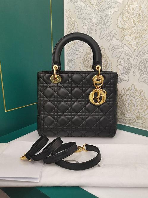 Like New Lady Dior Medium Black Lamb GHW