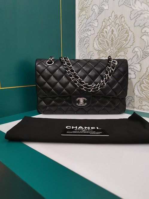 #13 Like New Chanel Medium Classic Double Flap Black Lamb with SHW