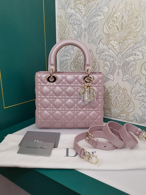 Brand New Lady Dior Medium Lotus Pearly Pink Lamb with GHW