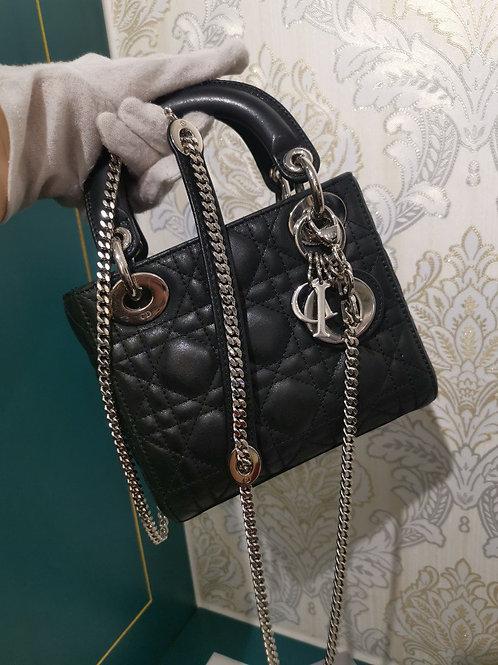 Like New Lady Dior Mini Chain Strap Metallic Black Calfskin with SHW